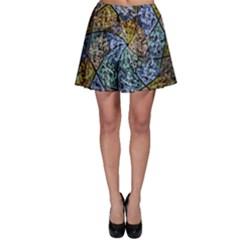 Multi Color Tile Twirl Octagon Skater Skirt