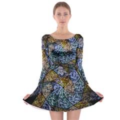 Multi Color Tile Twirl Octagon Long Sleeve Skater Dress