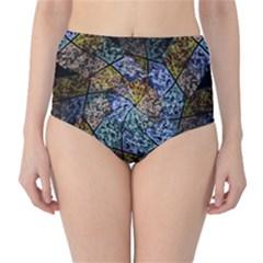 Multi Color Tile Twirl Octagon High Waist Bikini Bottoms