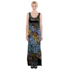 Multi Color Tile Twirl Octagon Maxi Thigh Split Dress