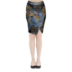 Multi Color Tile Twirl Octagon Midi Wrap Pencil Skirt