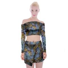 Multi Color Tile Twirl Octagon Off Shoulder Top With Skirt Set