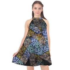 Multi Color Tile Twirl Octagon Halter Neckline Chiffon Dress