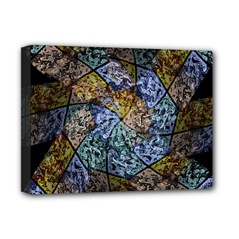 Multi Color Tile Twirl Octagon Deluxe Canvas 16  X 12