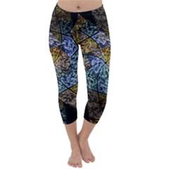 Multi Color Tile Twirl Octagon Capri Winter Leggings