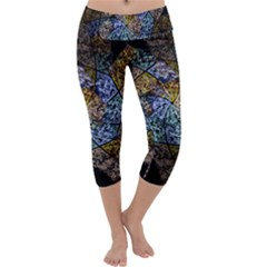 Multi Color Tile Twirl Octagon Capri Yoga Leggings by Nexatart