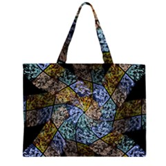 Multi Color Tile Twirl Octagon Zipper Large Tote Bag
