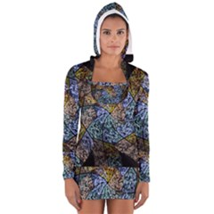 Multi Color Tile Twirl Octagon Long Sleeve Hooded T Shirt