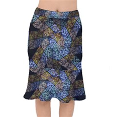 Multi Color Tile Twirl Octagon Mermaid Skirt