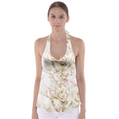 Pastel Roses Antique Vintage Babydoll Tankini Top