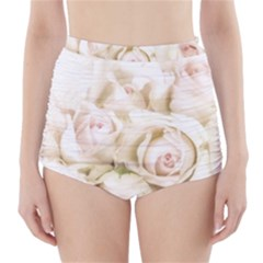Pastel Roses Antique Vintage High Waisted Bikini Bottoms