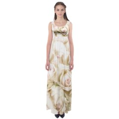 Pastel Roses Antique Vintage Empire Waist Maxi Dress