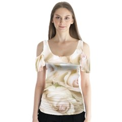 Pastel Roses Antique Vintage Butterfly Sleeve Cutout Tee