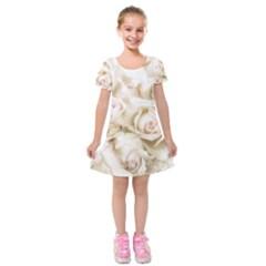 Pastel Roses Antique Vintage Kids  Short Sleeve Velvet Dress