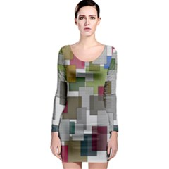 Decor Painting Design Texture Long Sleeve Bodycon Dress
