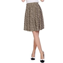 Leather Texture Brown Background A Line Skirt