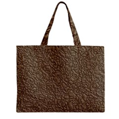 Leather Texture Brown Background Zipper Mini Tote Bag