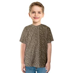 Leather Texture Brown Background Kids  Sport Mesh Tee
