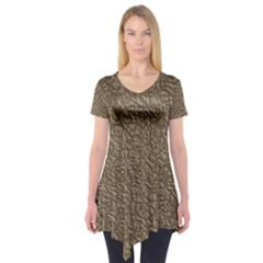 Leather Texture Brown Background Short Sleeve Tunic  by Nexatart