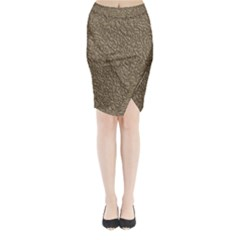 Leather Texture Brown Background Midi Wrap Pencil Skirt