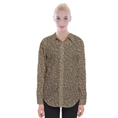Leather Texture Brown Background Womens Long Sleeve Shirt