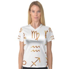 Signs Of The Zodiac Zodiac Aries V Neck Sport Mesh Tee by Nexatart