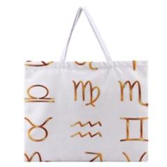 Signs Of The Zodiac Zodiac Aries Zipper Large Tote Bag