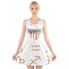 Signs Of The Zodiac Zodiac Aries V Neck Sleeveless Skater Dress