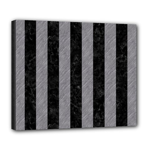 Stripes1 Black Marble & Gray Colored Pencil Deluxe Canvas 24  X 20   by trendistuff