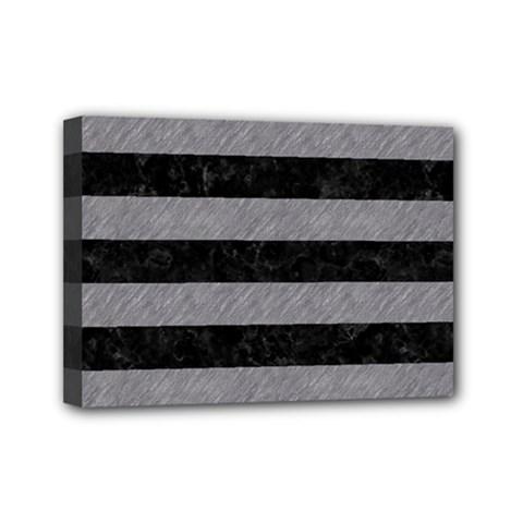 Stripes2 Black Marble & Gray Colored Pencil Mini Canvas 7  X 5  by trendistuff