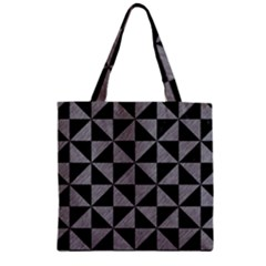 Triangle1 Black Marble & Gray Colored Pencil Zipper Grocery Tote Bag by trendistuff