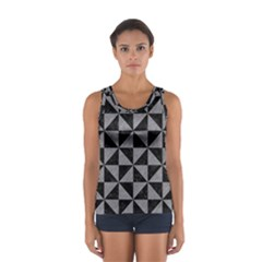 Triangle1 Black Marble & Gray Colored Pencil Sport Tank Top