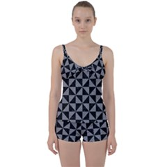 Triangle1 Black Marble & Gray Colored Pencil Tie Front Two Piece Tankini