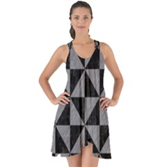 Triangle1 Black Marble & Gray Colored Pencil Show Some Back Chiffon Dress