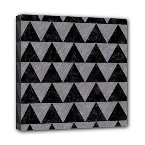 Triangle2 Black Marble & Gray Colored Pencil Mini Canvas 8  X 8  by trendistuff