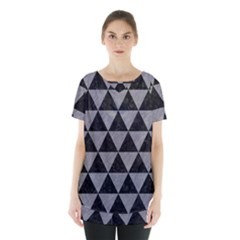 Triangle3 Black Marble & Gray Colored Pencil Skirt Hem Sports Top