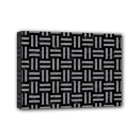 Woven1 Black Marble & Gray Colored Pencil Mini Canvas 7  X 5  by trendistuff