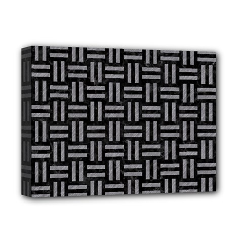 Woven1 Black Marble & Gray Colored Pencil Deluxe Canvas 16  X 12   by trendistuff