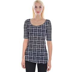 Woven1 Black Marble & Gray Colored Pencil (r) Wide Neckline Tee