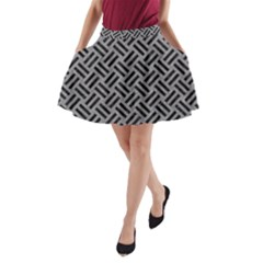 Woven2 Black Marble & Gray Colored Pencil (r) A Line Pocket Skirt by trendistuff