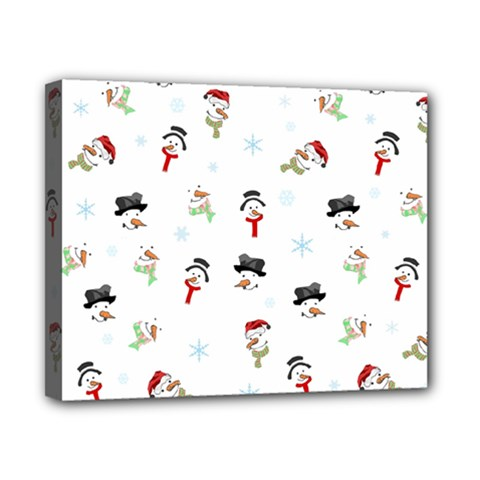 Snowman Pattern Canvas 10  X 8  by Valentinaart