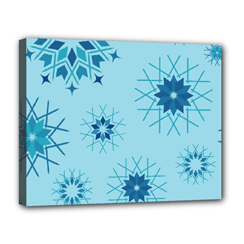 Blue Winter Snowflakes Star Canvas 14  X 11  by Mariart