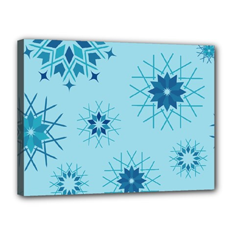 Blue Winter Snowflakes Star Canvas 16  X 12  by Mariart
