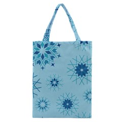 Blue Winter Snowflakes Star Classic Tote Bag by Mariart