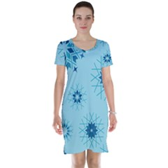 Blue Winter Snowflakes Star Short Sleeve Nightdress by Mariart