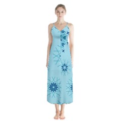 Blue Winter Snowflakes Star Button Up Chiffon Maxi Dress by Mariart