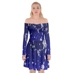 Blue Sky Christmas Snowflake Off Shoulder Skater Dress by Mariart