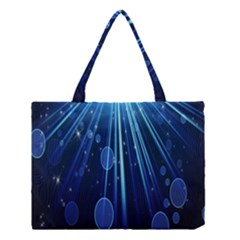 Blue Rays Light Stars Space Medium Tote Bag by Mariart