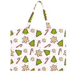 Ginger Cookies Christmas Pattern Zipper Large Tote Bag by Valentinaart
