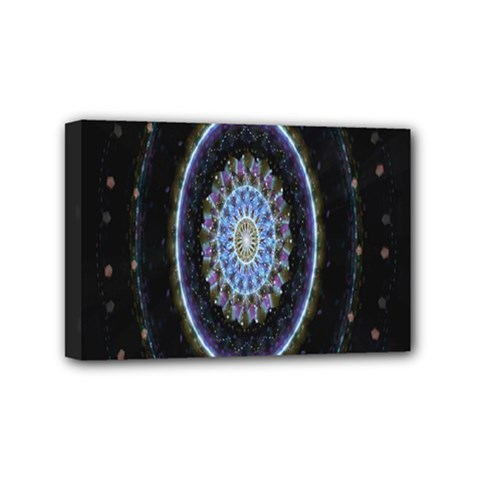 Colorful Hypnotic Circular Rings Space Mini Canvas 6  X 4  by Mariart